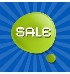 Green Sale Bubble Icon on Blue Backgound vector