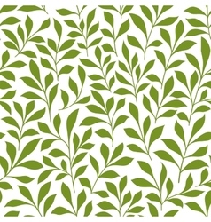 Green twigs with leaves seamless pattern vector