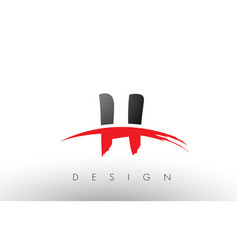 H brush logo letters with red and black swoosh vector