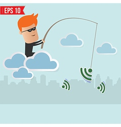 Hacker sniff wireless network Fishing Concept vector