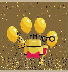 Happy birthday celebration with cake and wine vector