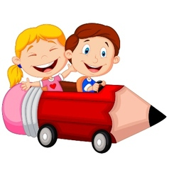 Happy children cartoon riding pencil car vector