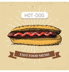 hot-dogfast food in vintage vector image