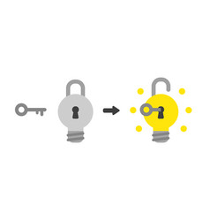 icon concept of light bulb padlock with key into vector image
