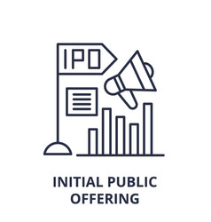 initial public offering line icon concept initial vector image