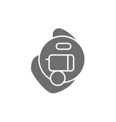 Intra ear hearing aid gray icon isolated on white vector