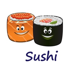 Japanese seafood and sushi vector