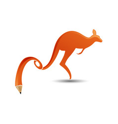 kangaroo wtih pencil tail logo icon design vector image