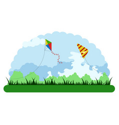 Landscape of an outdoor park with kite toys vector