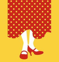 Legs of flamenco dancer and typical spanish polka vector