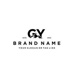 Letter gy mountain logo design vector