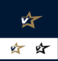 letter v logo template with star design element vector image