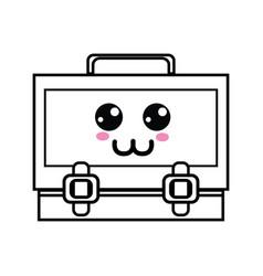 line kawaii cute happy suitcase design vector image