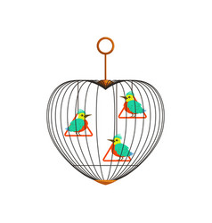 little colorful birds with long beaks on triangle vector image