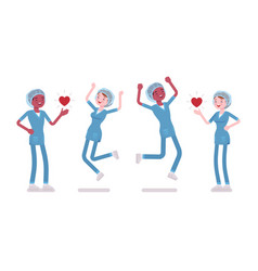 Male female nurse in positive emotions vector