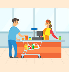Male paying for purchase in supermarket vector