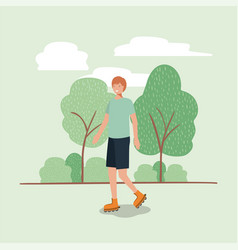 man on roller skates in the park vector image