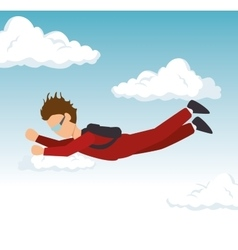 man sky diving extreme sport vector image