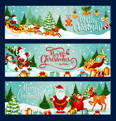 merry christmas santa greeting banners vector image