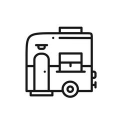 Mobile trailer line icon camping caravan trailer vector
