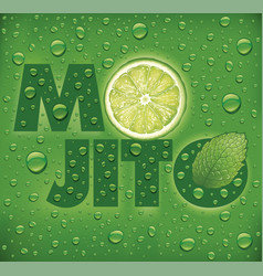 Mojito name with lime slice mint leaf vector