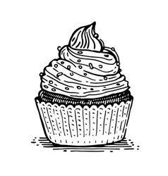 Muffin with cream vector