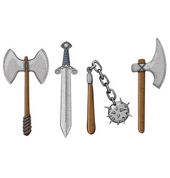 old viking weapons - ax sword flail spiked vector image