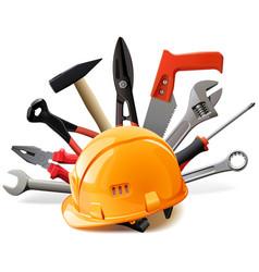 Orange helmet with hand tools vector