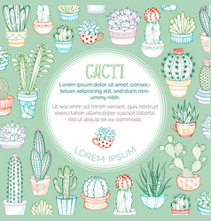 Outlined cacti background vector
