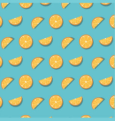 pattern of oranges slices isolated on blue vector image