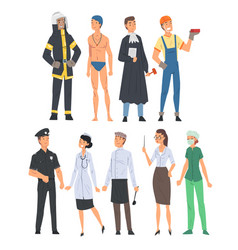 people various occupations set judge fireman vector image