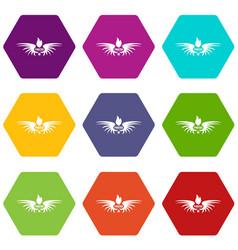 Phenix wing icons set 9 vector