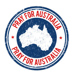 Pray for australia sign or stamp vector