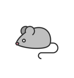 Rat or mouse outline icon with fill colour vector