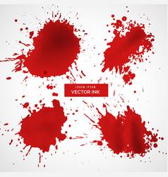 Red ink splashes set vector