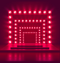 Retro show stage with light frame decoration game vector