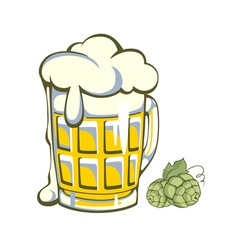 Retro styled label beer glass vector