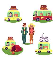 Road trip camping people travelling by car bus vector
