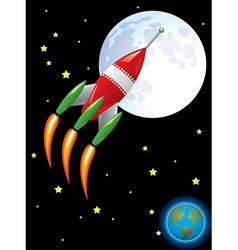 rocket ship in space vector image vector image