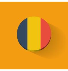 round icon with flag romania vector image