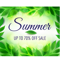 Sale poster background with green leaves vector