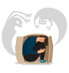 scary depressed monsters and sad girl vector image