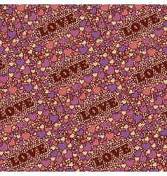 Seamless background with hearts and world Love vector image