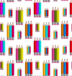 seamless pattern with colorful pencils vector image