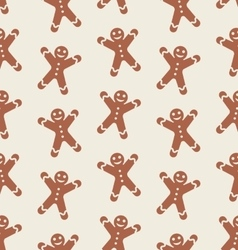 Seamless Pattern with Gingerbread Man vector image