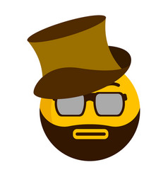 serious emoji with a gentleman hat vector image