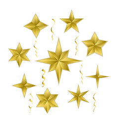 set of realistic golden 3d stars vector image