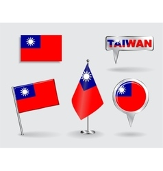 Set of Taiwan pin icon and map pointer flags vector image