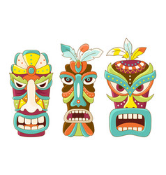 set of tiki tribal mask vector image