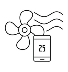 smart home fan icon outline style vector image